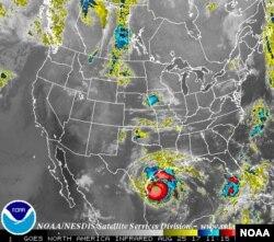 NOAA Satellite image of Hurricane Harvey, off Texas coast, Aug. 25, 2017.