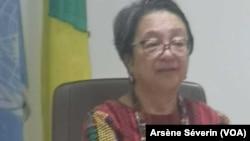 Victoria Dauli-Corpus, rapporteuse spéciale des Nations unies sur les peuples autochtones, le 24 octobre à Brazzaville. (VOA/Arsène Séverin)