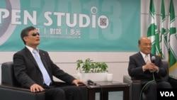 陳光誠和蘇貞昌在民進黨中央黨部會面(美國之音張永泰拍攝)