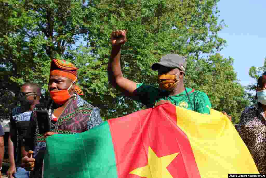Manifestação da diáspora africana em Washington DC em solidariedade com o movimento Black Lives Matter.