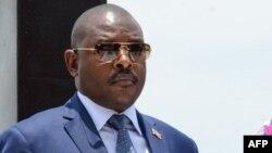 Le président burundais Pierre Nkurunziza à la commémoration du 56e anniversaire de la mort du prince Louis Rwagasore, héros de l'indépendance burundaise, à Bujumbura, le 13 octobre 2017.
