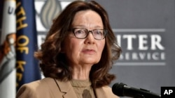 지나 해스펠 미국 중앙정보국(CIA) 국장이 24일 모교인 캔터키 주 루이스빌 대학에서 열린 간담회에서 발언하고 있다.