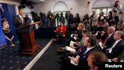 اوباما در جمع خبرنگاران