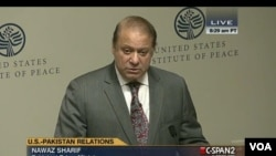 PM Pakistan Nawaz Sharif memberikan pidato di US Institute of Peace di Washington DC hari Selasa (22/10).
