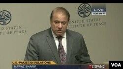 PM Pakistan Nawaz Sharif memberikan pidato di US Institute of Peace di Washington DC hari Selasa (22/10).