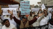 People rally to condemn the death of Pakistan's government minister for religious minorities Shahbaz Bhatti during a rally in Karachi, Pakistan, March 2, 2011.