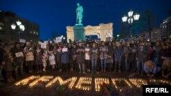 Акция памяти жертв пожара в Кемерове, Москва, 27 марта 2018 года