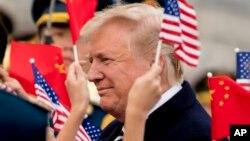 美国总统川普2017年11月8日抵达北京访问