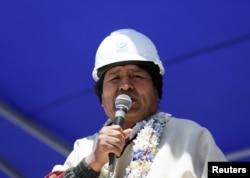 FILE - Bolivia's President Evo Morales speaks on the salt lake of Uyuni, Potosi, Bolivia, Oct. 7, 2018.