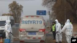 北京郊外防疫猪瘟消毒(2018年11月23日)