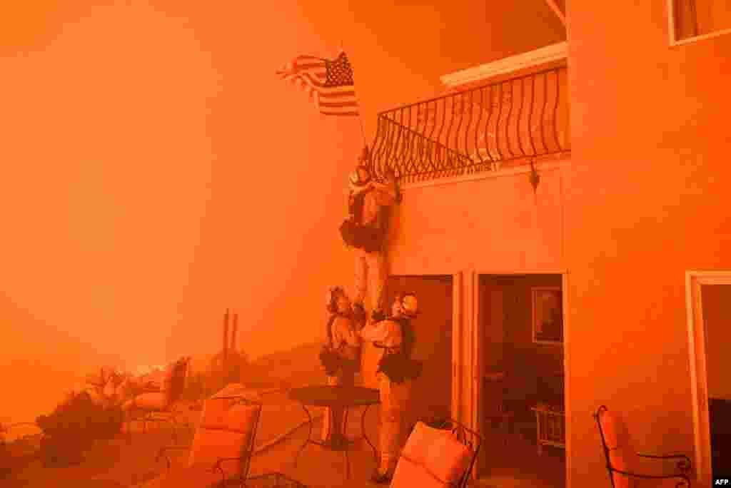 Kaliforniya shtatida boylarning uyi yondi, lekin bayroq hilpirab turdi