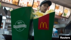 Deep-fried yucas are served at a McDonald's restaurant in Caracas, Venezuela, Jan. 6, 2015.