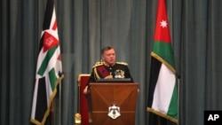 约旦国王阿卜杜拉二世在首都安曼的议会上讲话。(资料照片)