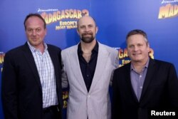 "FILE - Directors Tom McGrath (L), Conrad Vernon and Eric Darnell (R) arrive for the premiere of ""Madagascar 3: Europe's Most Wanted"", in New York, June 7, 2012."
