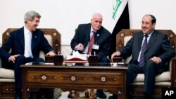Джон Керри и Нури аль-Малики во время переговоров в Багдаде, Ирак. 24 марта 2013 года