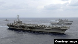 美国乔治.华盛顿号核动力航母。 (资料图片)