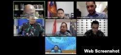 "Para narasumber di diskusi daring bertema ""Penguatan Sistem Keamanan Laut di Indonesia"". Jumat 5 Juni 2020. (Screenshot)"