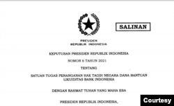 Keppres Nomor 6 Tahun 2021 tentang Satuan Tugas Penanganan Hak Tagih Negara Dana Bantuan Likuiditas Bank Indonesia (BLBI)