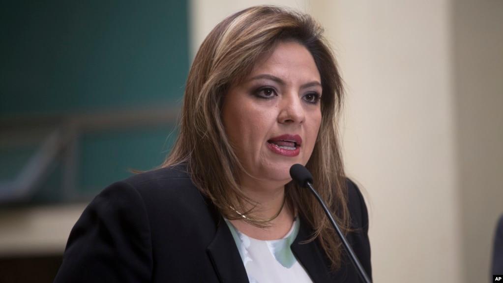Archivo - La ministra de Relaciones Exteriores de Guatemala, Sandra Jovel, se reunió con su homólogo de Colombia, Carlos Holmes Trujillo, en Ciudad de Guatemala el martes, 7 de mayo de 2019.