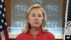 ລັດຖະມົນຕີການຕ່າງປະເທດສະຫະລັດ ທ່ານນາງ Hillary Clinton ໃນພິທີເຜີຍແຜ່ລາຍງານປະຈຳປີສະບັບ ໃໝ່ ວ່າດ້ວຍອິດສະຫຼະພາບໃນການນັບຖືສາສະໜາຢູ່ໃນທົ່ວໂລກ (13 ກັນຍາ 2011)