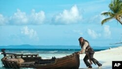 Captain Jack (Johnny Depp) attempts a quick getaway from yet another precarious situation in the Caribbean