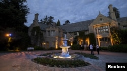 """FILE - A general view of the Playboy Mansion during the premiere of """"The Transporter Refueled"""" in Los Angeles, California, Aug. 25, 2015."""
