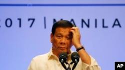 菲律賓總統杜特爾特4月29日在馬尼拉。