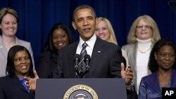 صدر اوباما خواتین کانفرنس سے خطاب کرتے ہوئے