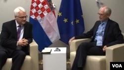 Predsednik Hrvatske Ivo Josipovic i predsednik Evropskog saveta Herman van Rompuj u Briselu, 30. maj 2012.
