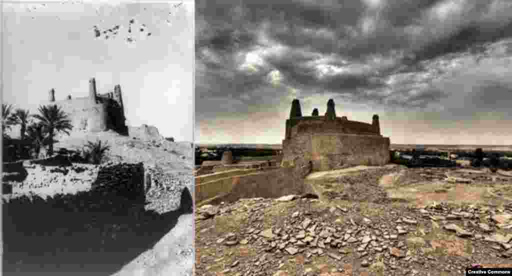 Ancient Arabia: Qasr (Castle) Mard, Dumat Al-Jandal, in northwestern Saudi Arabia. Built before 272 CE, it commanded the ancient city of Adumato (L) 2007. Library of Congress (R) CC/Nora Ali.