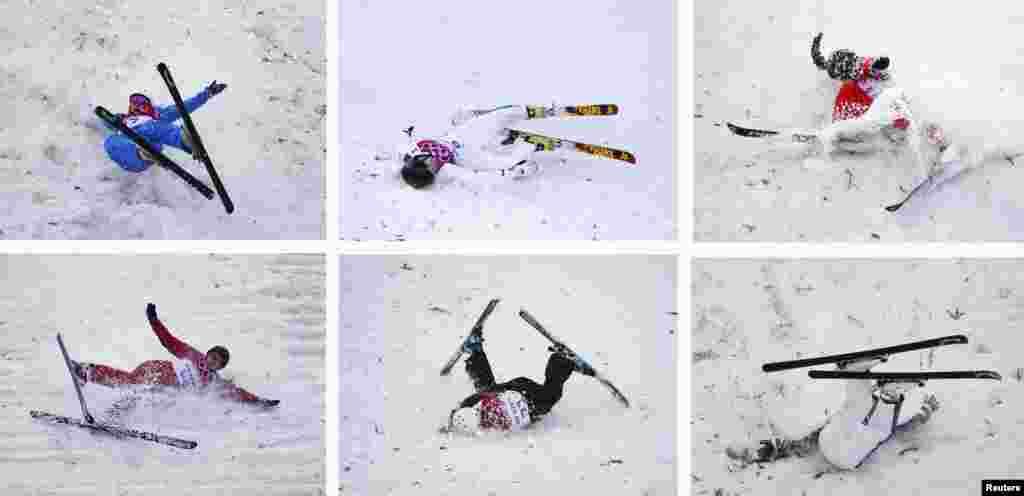 A combination picture shows (top row L-R) Belarus' Hanna Huskova, Australia's Laura Peel, China's Zhang Xin, (bottom row L-R) Russia's Alexandra Orlova, Ukraine's Anastasiya Novosad, Australia's Lydia Lassila crashing during the women's freestyle skiing aerials qualification round at the 2014 Sochi Winter Olympic Games in Rosa Khutor, Russia.