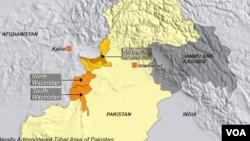 نقشے میں شمالی وزیرستان اور پاکستان کے دیگر قبائلی علاقے واضح ہیں۔