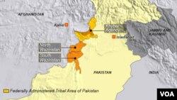 Peta wilayah Waziristan Utara dan Selatan, daerah kesukuan Khyber, Pakistan.