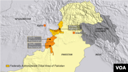 Map of North and South Waziristan, Khyber, Pakistan