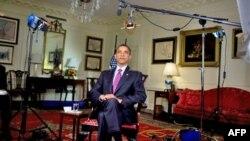 奥巴马总统录制每周例行讲话