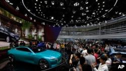 北京的一個汽車展(資料圖片)