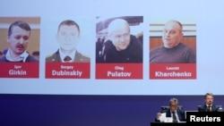 Foto para tersangka: tiga warga Rusia dan seorang warga Ukraina terkait penembakan jatuhnya pesawat MH17 dalam sidang di Belanda.