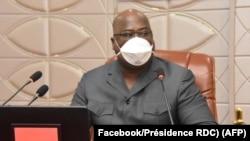Président Félix Tshisekedi azali kokamba likita lya bokengi na Cité de l'Union africaine, Kinshasa, 30 mars 2020. (Facebook/Présidence RDC)
