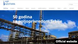 Naslovna strana sajta Azotare Pančevo.