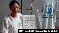 Nhà hoạt động Nguyễn Văn Túc phản đối bạo lực và sách nhiễu người dân của chính quyền Việt Nam. (Photo by HRW © Private 2015)