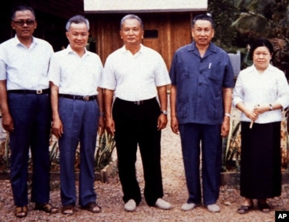 Pol Pot stands, second from the right, with other Khmer Rouge leaders.