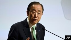 FILE - United Nations Secretary General Ban Ki-moon, Nov. 30, 2015.