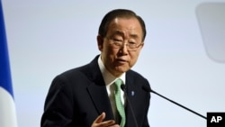 FILE - U.N. Secretary General Ban Ki-moon, pictured at November's climate change conference in Paris, says the potential for Ebola flare-ups are expected to decrease, but governments will need resources to prevent infection and respond rapidly to new cases.