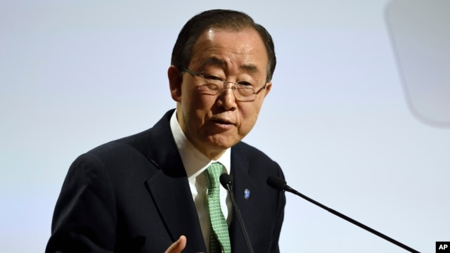 FILE - United Nations Secretary General Ban Ki-moon, Nov. 30, 2015.