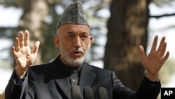 Afghan President Hamid Karzai at a press conference in Kabul, Oct. 4, 2012.