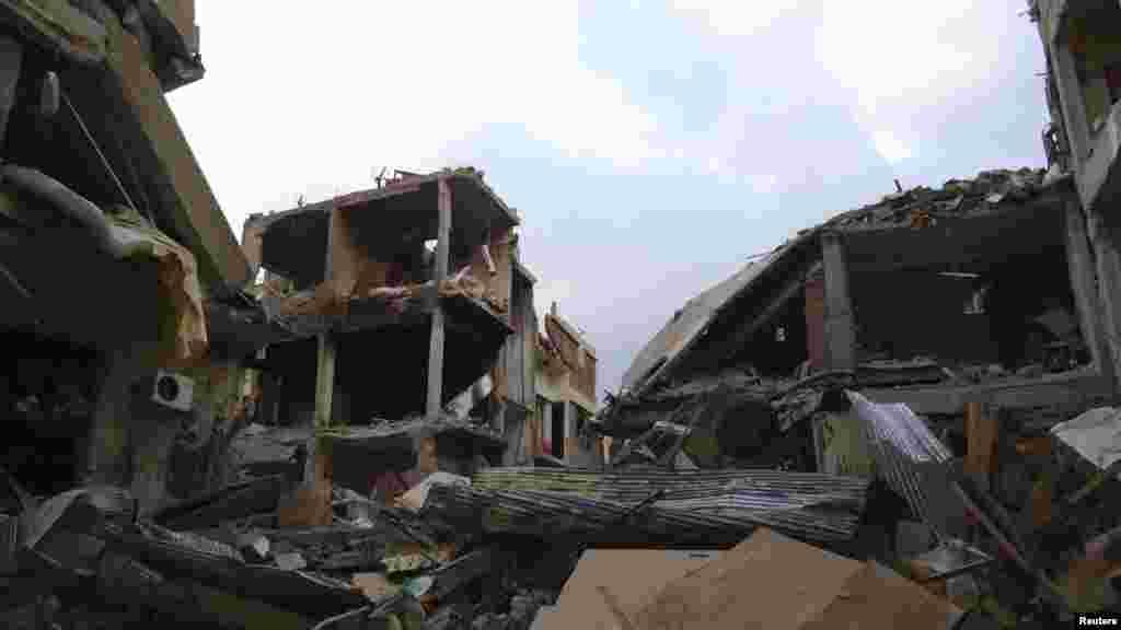 تباہ شدہ عمارتوں کا ایک منظر