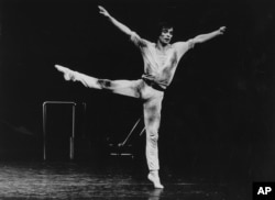"FILE - A 1978 photo of dancer Rudolf Nureyev in ""Faun."""