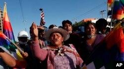 Los partidarios del expresidente Evo Morales se manifiestan en Sacaba, en las afueras de Cochabamba, Bolivia, el lunes 18 de noviembre de 2019.
