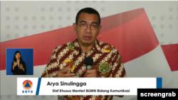 Staf Khusus Menteri BUMN, Bid Komunikasi. (Foto: Screengrab/YouTubeBNPBIndonesia)