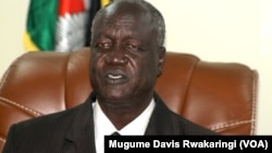 South Sudan Defense Minister Kuol Manyang Juuk speaks to reporters in Juba on June 23, 2014.